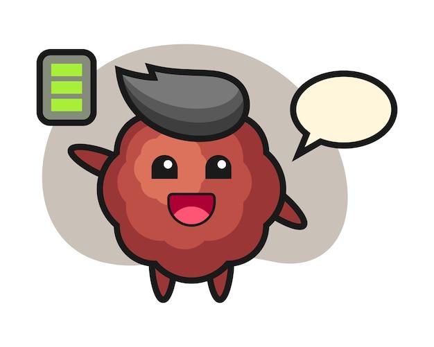 Fleischbällchen-karikatur mit energetischer geste