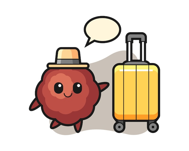 Fleischbällchen-karikatur mit gepäck im urlaub