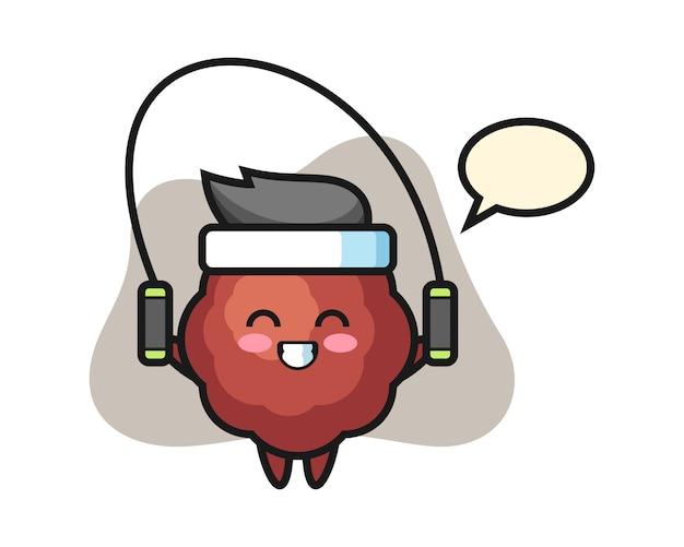 Fleischbällchen-karikatur mit springseil