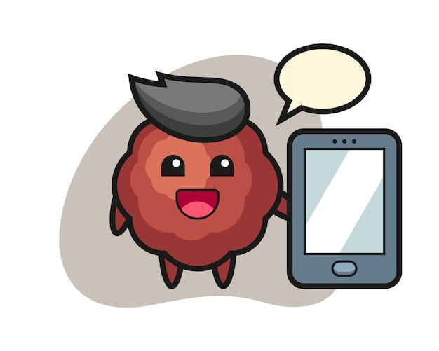 Fleischbällchenkarikatur, die ein smartphone hält
