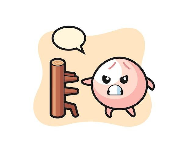 Fleischbrötchen-cartoon-illustration als karate-kämpfer, süßes stildesign für t-shirt, aufkleber, logo-element