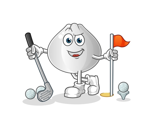 Fleischbrötchen, das golfzeichentrickfigur spielt