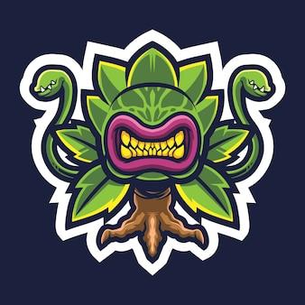 Fleischfresser pflanze esport logo illustration
