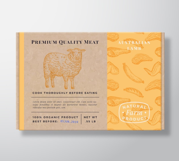 Fleischmuster realistischer kartonbehälter