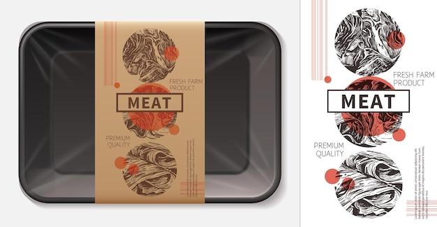 Fleischnahrungsmitteletikettenlayout mit realistischer schaumstoffschale 3d mit bastelpapieranhängerschablone