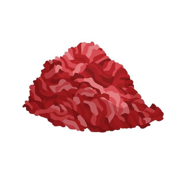 Fleischprodukt oder rohes fleisch. illustration für konzeptprodukt des bauernmarktes oder -ladens. füllung oder gehackt. cartoon-produktsymbol.