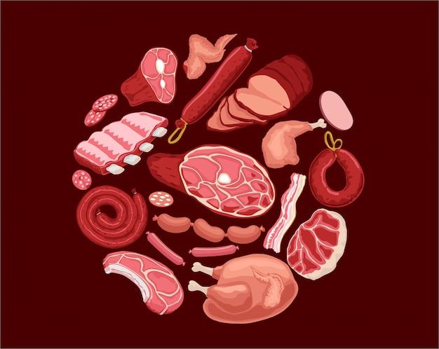 Fleischset illustration. frisches fleisch und gekochte wurst, salami und huhn, speck