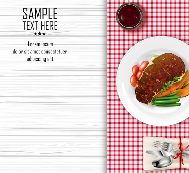 Fleischsteak mit gemüse Premium Vektoren