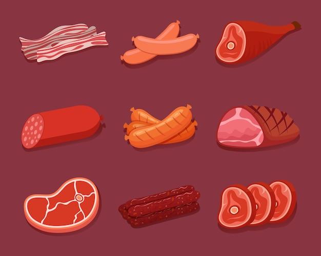 Fleischsymbolsatz. verschiedene fleischprodukte, würstchen, speck und steak. illustration.