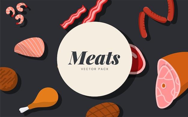 Fleischvektorsatz auf schwarzem hintergrund