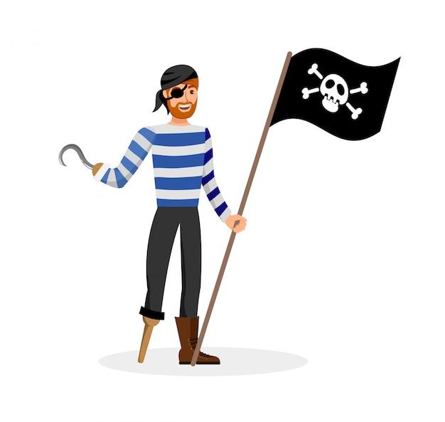 Flibustier, der vektor-illustration der schwarzen flagge hält