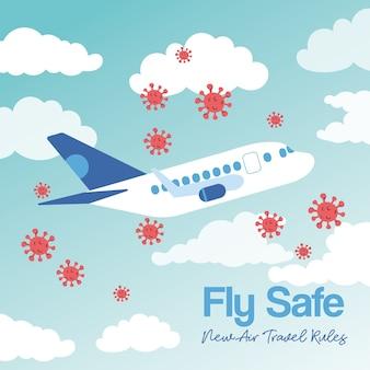 Fliege sichere kampagne mit flugzeugfliegen und covid19 teilchenvektorillustrationsdesign