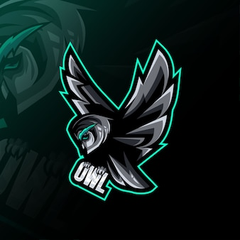 Fliegen-eulen-maskottchen-logo-design