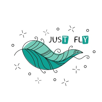Fliegen. inspirierendes zitat über glücklich. satz mit handgezeichneter feder - stil für druck und poster