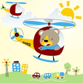 Fliegen mit hubschrauber-cartoon
