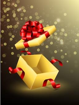 Fliegen öffnete geschenkbox mit roten bändern