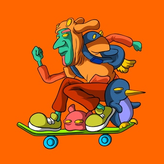 Fliegen sie mit skateboard handgezeichneten stil