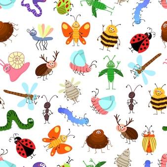 Fliegen und kriechen niedliches karikaturinsektenmuster für glückliche kinder. hintergrund mit zeichen insekten, illustration von geflügelten insekten