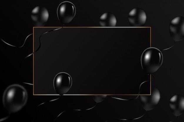 Fliegenballone, schwarzer rahmen mit goldener luxuslinie auf schwarzem