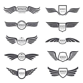 Fliegende adlerflügelvektorlogos eingestellt. vintage geflügelte embleme und etiketten