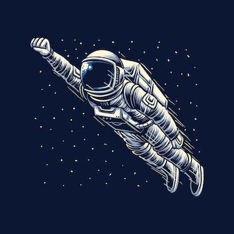 Fliegende astronautengalaxie-vektorillustration