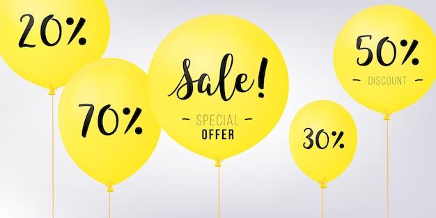 Fliegende ballons, konzept des verkaufs für geschäfte. gelbes fliegendes party steigt mit text verkauf im ballon auf. rabatt-konzept-vektor-illustration.
