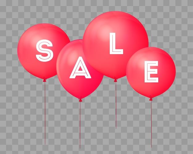 Fliegende ballons, konzept des verkaufs für geschäfte. vier rote fliegenpartyballone getrennt mit text verkauf auf transparentem. rabattkonzept-vektorillustration.