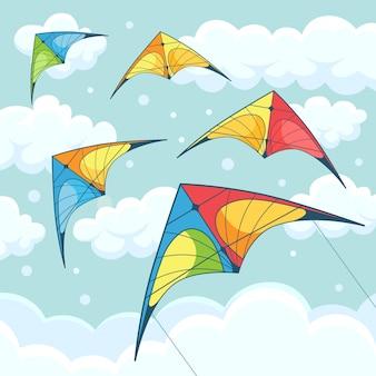 Fliegende bunte drachen im himmel mit wolken auf hintergrund. kitesurfen. sommerfest, urlaub, ferienzeit. kitesurf-konzept. illustration. karikatur