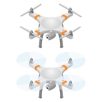 Fliegende drohne in isometrischer ansicht. modernes fliegendes helikopter-spielzeug mit videoaufnahmefunktion. isoliert auf weißem hintergrund. vektor-illustration.