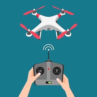 Fliegende drohne mit kamera und controller