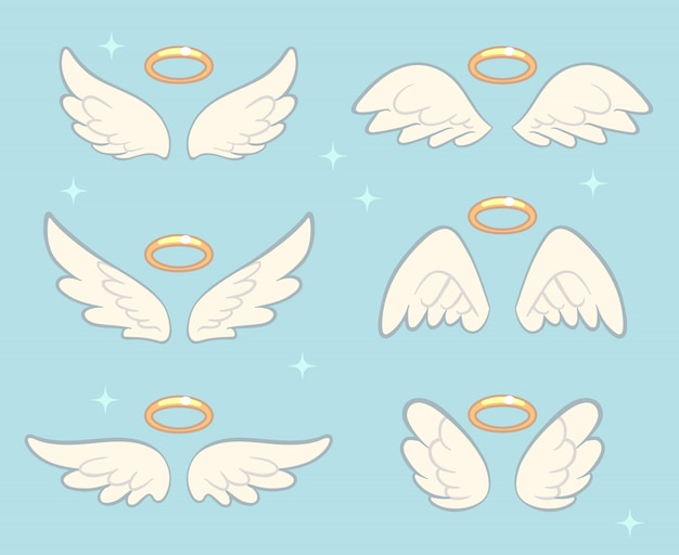 Fliegende engelsflügel mit goldenem nimbus