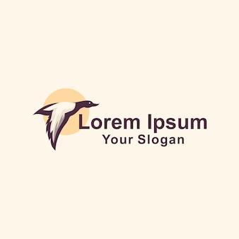 Fliegende ente logo vorlage Premium Vektoren