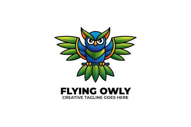 Fliegende eule buntes monoline-logo mit farbverlauf