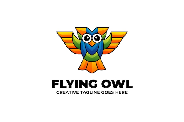 Fliegende eule-maskottchen-logo im aquarell-stil