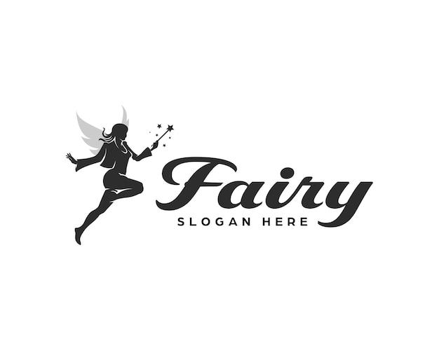 Fliegende fee-logo. ein einfaches, aber raffiniertes logo-design, das eine fee mit ihrem zauberstab zeigt.