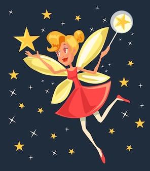Fliegende fee mit zauberstabcharakter. flache karikaturillustration