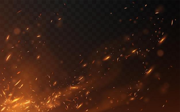 Fliegende feuerfunken auf transparent