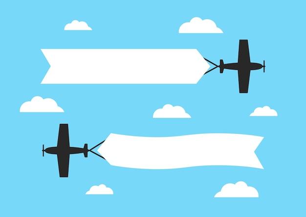 Fliegende flugzeuge mit werbebannern
