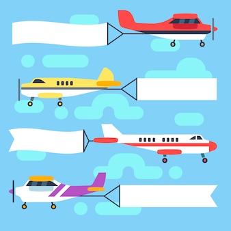 Fliegende flugzeuge und hubschrauber mit leeren banner und fahnen Premium Vektoren