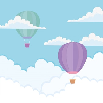 Fliegende heißluftballons durch die wolken
