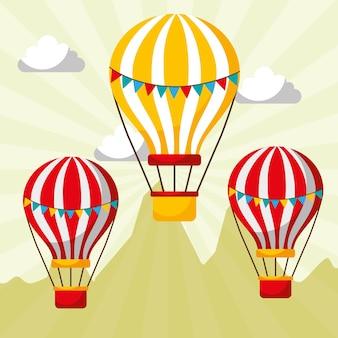 Fliegende heißluftballons karneval spaß messe festival