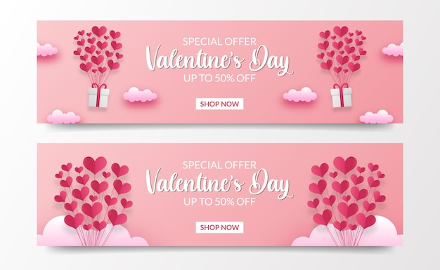 Fliegende herzform ballon papierschnitt stil illustration für valentinstag verkauf angebot banner