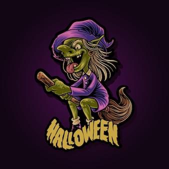 Fliegende hexe auf einer besenstiel-halloween-illustration
