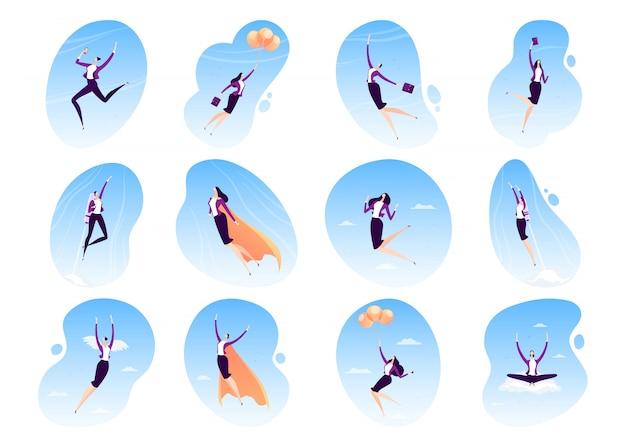 Fliegende illustration des superhelden der geschäftsfrau, superheld der geschäftsfrau im umhang, karriere, führungskonzeptikonensatz lokalisiert auf weiß