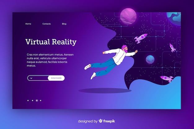 Fliegende karikatur im kosmos in einer virtuellen realität