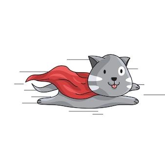 Fliegende katze mit cape zeichen