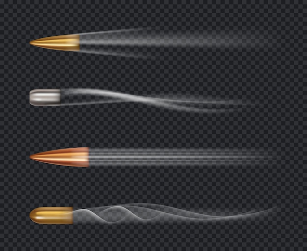 Fliegende kugel. bewegungsschießen zieljacke spur von kugelschüssen realistische vorlage.