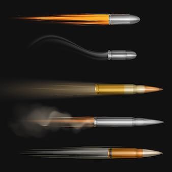 Fliegende kugeln mit feuer- und rauchspuren gesetzt
