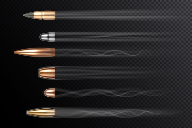Fliegende kugeln mit schussfeuerrauchschwänzen realistisch isoliert auf transparentem hintergrund