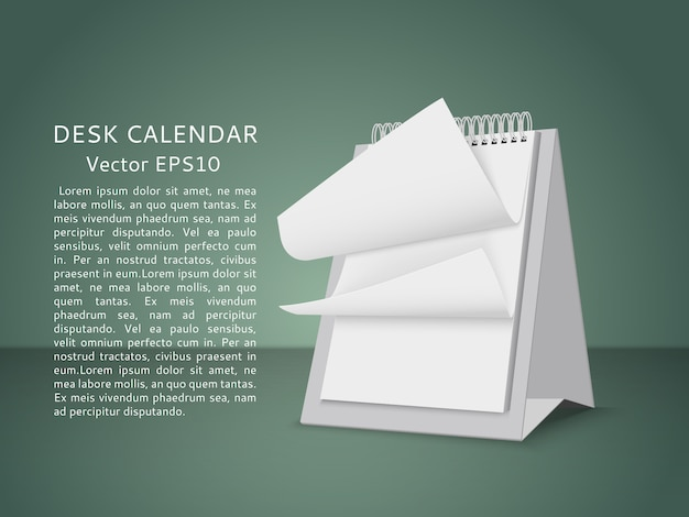 Fliegende leere seiten des tischkalenders. geschäftslokal-kalenderpapier auf schreibtisch. vektor-illustration